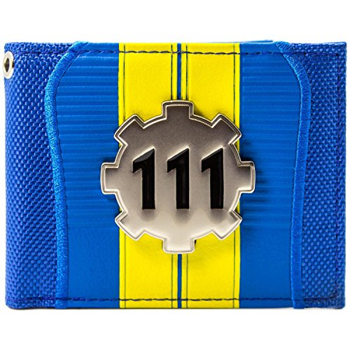 Silber Metal Zahn Blau Portemonnaie Geldbörse (Vault 111 Kostüm)