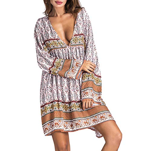 LILIGOD Damen Sexy Boho Kleid Frauen Sommerkleid Kurz Tiefer V-Ausschnitt Strandkleider Langarm Vintage Lose Kurzes Kleid Mini Kleid Bequem Leichte Großes Kleid Sexy Elegant T-Shirt Kleid -