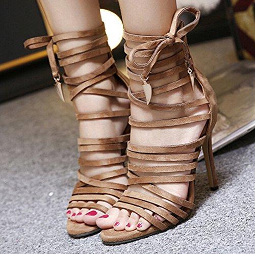 Aisun Damen Modisch Lace Up Stiletto Metall Quaste Pumps Schnürung Sandalen Braun