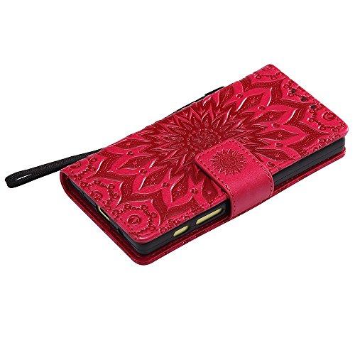 Für Sony Z5 Mini Compact Case, Prägen Sonnenblumen Magnetic Pattern Premium Soft PU Leder Brieftasche Stand Case Cover mit Lanyard & Halter & Card Slots ( Color : Blue ) Red