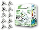 10x greenandco CRI90+ LED Spot 4000K neutralweiß ersetzt 45 Watt GU5.3 MR16 Halogenstrahler, 6W 470 Lumen SMD LED Strahler 36° 12V AC/DC Glas mit Schutzglas, nicht dimmbar, 2 Jahre Garantie