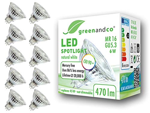 10x Spot LED greenandco® IRC 90+ 4000K GU5.3 MR16 6W (corresponde a 45W) 470lm (blanco neutro) SMD LED 36° 12V AC/DC, no regulable