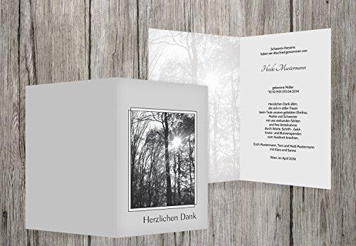 Trauerkarten-Druck   Danksagungskarten Trauer   Danksagung Trauer Wald   30 Karten   mit Individualisierung & Umschlägen   in hellesGrau