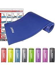 POWRX Gymnastikmatte inkl. Trageband + PDF Workout | Trainingsmatte Yogamatte Phthalatfrei 190 x 60 x 1.5 cm oder 190 x 100 x 1.5 cm | verschiedene Farben