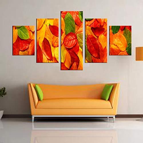 adgkitb canvas 5 Stücke Gerahmte Wandkunst Bild Geschenk Dekoration Leinwanddruck Malerei Schöne Farbige Blätter