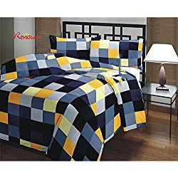 Renown Blue Yellow Checks Design Double Bed Dohar / AC Blanket / Quilt ( Pack Of 1 )