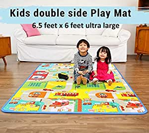 Sasimo Double Sided Water Proof Baby Mat Carpet Baby Crawl Play Mat Kids Infant Crawling Play Mat Carpet Baby Gym Water Resistant Baby Play & Crawl Mat(Large Size - 6.5 Feet X 6 Feet)