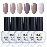 Ukiyo Smalto Semipermente per Unghie in Gel UV LED 6pcs Set per Manicure Colori Smalti Gel per Unghie Soak Off 8ml