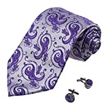 A1206 Medium Purple Patterned Club Goods Mens Gentlemen Presents Silk Tie Cufflinks Set 2PT By Y&G