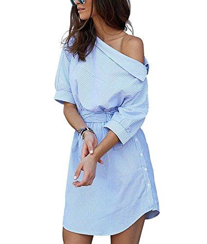 Minetom Casual One Shoulder Side Split Schräg Gestreiftes Shirtkleid Hemdkleid Mit Gürtel Partei Abend Cocktail Kurzschluss Minikleid Blau DE...
