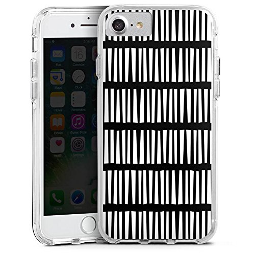 Apple iPhone 7 Bumper Hülle Bumper Case Glitzer Hülle Lines Linien Streifen Bumper Case transparent