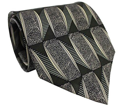 Krawatte Seidenkrawatte aus 100% Seide grün schwarz Jacquard R-150 (Seidenkrawatte Schwarz Geometrische)