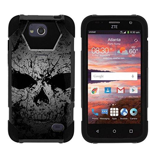 miniturtle Telefon Fall Kompatibel mit ZTE Majesty Pro und ZTE Majesty Pro [Schock Fusion Slim Case Serie] Dual Layer Impact Schutzhülle mit Standfunktion, Faded Skull