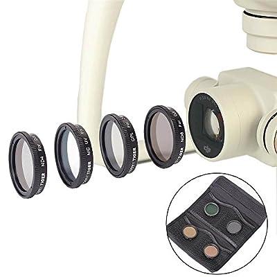HOBBYTIGER Lens Filter Kit UV ND4 ND8 CPL for DJI Phantom 4 / Phantom 3 ( 4-Pack )