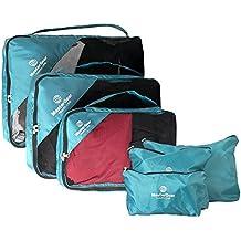 MasterGear Bolsas de Viaje 6 Piezas - Neceser Cosméticos – Organizador de Maleta – Contiene 3 Bolsas de Almacenamiento + Bolsa de Lavandería, de Zapatos o Cosméticos - Color Azul