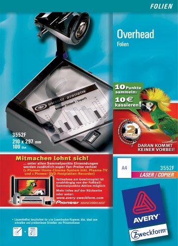 Avery Zweckform  Overhead-Folie für s/w Laserdrucker und s/w Kopierer, stapelverarbeitbar; 100 Blatt  Aktion: Fußballpunkte sammeln