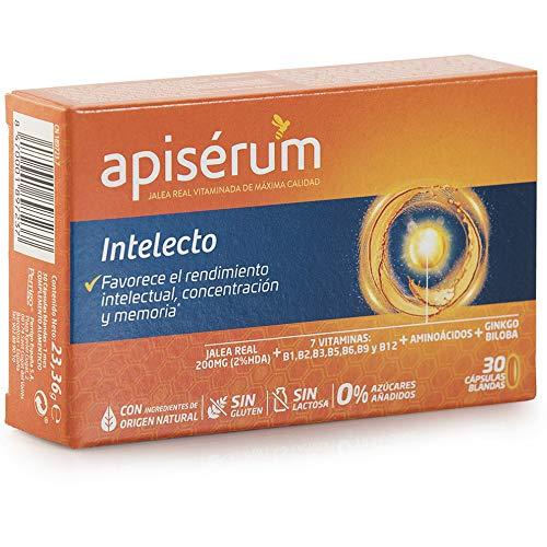 Apisérum Intelecto Cápsulas - Favorece el rendimiento intelectual, concentración y memoria - Multivitamínico con Jalea Real, Vitamina B, Aminoacidos y Ginkgo Biloba - Tratamiento para 1 mes