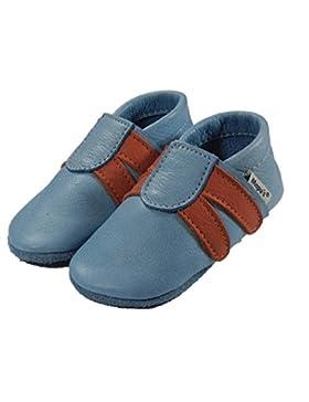 Mopu's® Krabbelschuhe - Lederpuschen im Turnschuhlook - hellblau mit orangen Streifen - handgemachte Markenqualität...