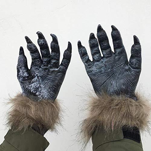 jiali Halloween Handschuhe Wolf Klauen Latex Plüsch Handschuhe Tierhandschuhe Gruselige Wolf - Realistische Kostüm