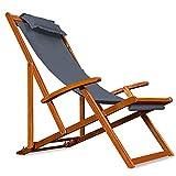 Liegestuhl Deckchair | Akazienholz Klappbar Atmungsaktiv Sonnenliege Strandstuhl Gartenliege Relaxliege | Anthrazit