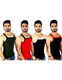 ZIMFIT Men's Cotton Gym Vest Pack of 4 (111) - (Green_Brown_Royal_Black)