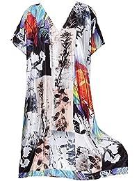 La Leela Kimono Beach Women's Swimwear Swimsuit Bikini Cover up Blouse Black