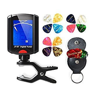 HusDow Guitar Tuners with Plectrums, Digital Tuner Clip on Tuers with 16 Pcs Guitar Picks including 0.46mm 0.71mm 0.96mm 1.2mm and 1 Leather Pick Holder for Guitar,Ukulele,Bass,Violin,Chromatic.