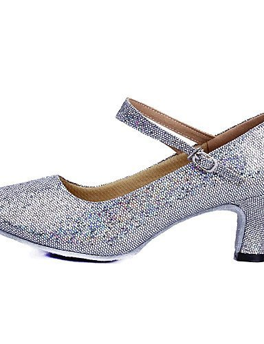 ShangYi Women's Dance Shoes Latin Sparkling Glitter/Paillette Low Heel Blue/Pink/Red/Silver/Gold Blue