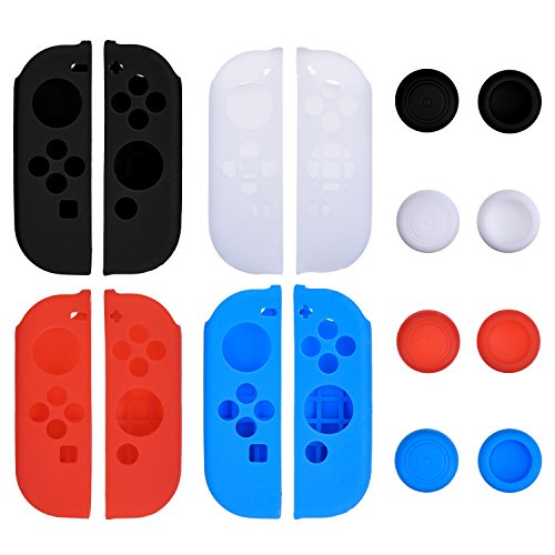 Price comparison product image Blulu 4 Colors Silicone Case with 4 Pairs Anti-slip Thumb Stick Caps Gel Guards for Joy-con Controller Protection Kits, Compatible with Nintendo Switch
