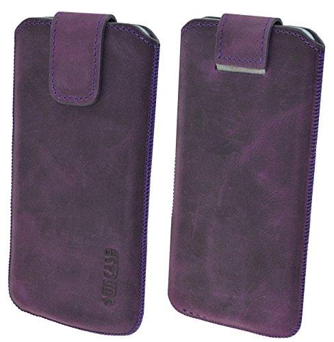 """iPhone 7 Plus (5.5"""") Original Suncase® Ledertasche Tasche Case Schutzhülle Hülle (mit ZUSÄTZLICHER Transparent Hülle + 9H Panzerglas) in rustik-mocca braun antik-violett"""