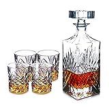 YYCDD Whiskey Glass, Diamond Cup/Kristall Glas Tasse/Rotweinglas / Weinglas Geschenk/Europäische Dekanter/Wein Set, 5-teiliges Set (210ml),A