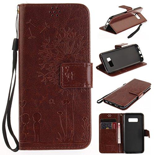 Für Samsung Galaxy S8 Plus Solid Color Case mit geprägtem Löwenzahn Pattern Premium Soft PU + TPU Leder Notizbuch Brieftasche Stand Case mit Karte Cash Slots & Stand / Kickstand & Lanyard ( Color : Go Brown