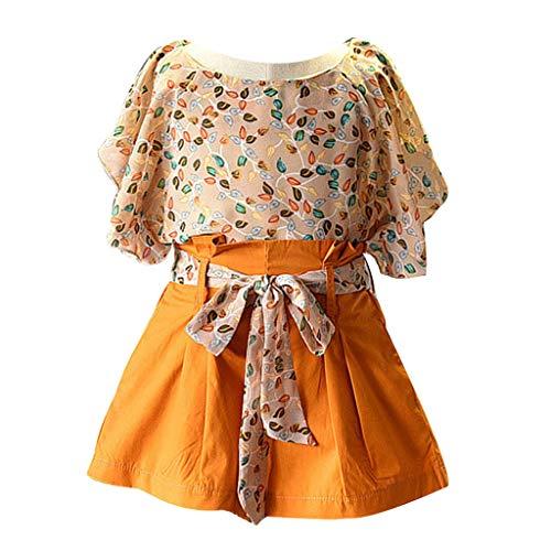 Kobay Baby Mädchen Kinderkleidung Floral Chiffon T-Shirt Tops + Shorts Hose Set(Gelb,2-3T)