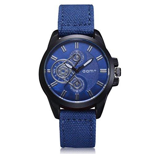 Herren Quarzwerk Militär Armbanduhr Maschinen Schwarz Zifferblatt/Denim Armband, Zarupeng Einfache Sport Uhren Quarzuhr Stopuhr (One Size, Blue) (Maschine Denim)