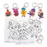 Baker Ross Easter Super Shrink Keyrings (Pack of 8) Easter Crafts For Kids to Decorate and Attach to Keyrings or Bags