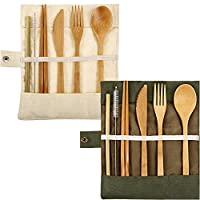 2 Set Bamboo Cutlery Flatware Set Bamboo Travel Utensils Include Reusable Knife Fork Spoon Chopsticks Straws (White and Green)