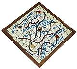 Schlangen und Leitern Spiel Jumbo 4 Spieler Brett Spaß Reise Spiele Holz 4 Münzen und 1 Würfel - 25,4 cm
