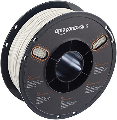 AmazonBasics - PLA 3D-Drucker Filament, 1,75 mm, Perlweiß, 1 kg Spule