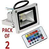 10w RGB LED Flood Light with Remote Control,Waterproof,IP65,16 Color,4 effect-10 watt (Pack of 2)
