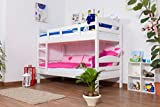 Etagenbett / Stockbett 'Easy Sleep' K3/n, Buche Vollholz massiv weiß lackiert - Maße: 90 x 200 cm, teilbar