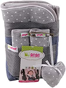 Reversible Black with White Stars Cotton Liner and Strap Set Award Winning Pushchair Car seat Liner and Strap Set with Universal Slits to fit Most Car Seats and Pushchairs Baby Stroller Pad
