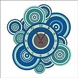 Bomeautify Blau Kreis Wandaufkleber DIY kreativ Uhr Wohnzimmer Dekoration Aufkleber