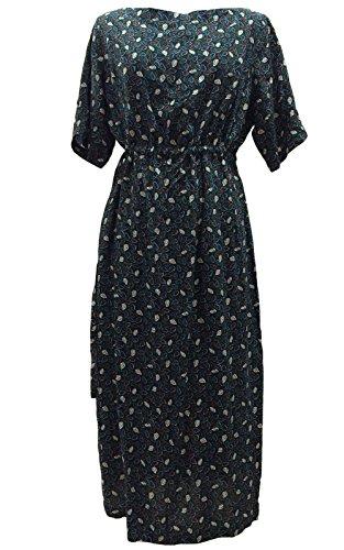 Damen Maxi Kleid Strand sommer Boho Kleid mit Ärmel Blumendruck Baumwolle Sundress (16, Blau) (Aus Baumwolle 1960er Floral)