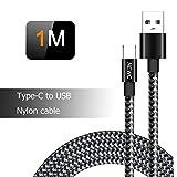 Câble USB Type C Tressé Noir en Nylon à USB 3.0 5A, Câble USB C pour Samsung Galaxy S8/S8 Plus,S9/S9 Plus, Huawei, Xiaomi, Honor, Nokia, OnePlus, Chargeur Cable USB C Rapide 1M
