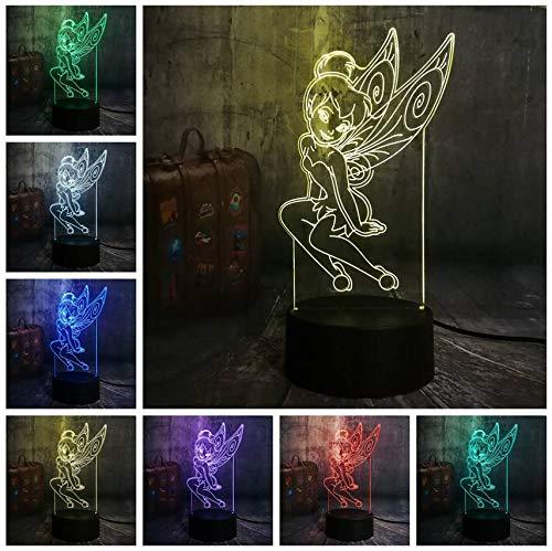 Schöne Elf Miss Tinker Bell 3D Led Nachtlicht Rgb 7 Farbe Cartoon Baby Schlaf Schreibtischlampe Wohnkultur Urlaub Kind Weihnachtsgeschenk