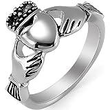 JewelryWe Gioielli anello da uomo donna lucidato acciaio inossidabile Celtico Claddagh Corona Re Cuore Amore anello per Promessa/fidanzamento/matrimonio: UK misura - P