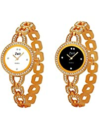 Zeit Gold Round Analog Watches For Women - Pack Of 2