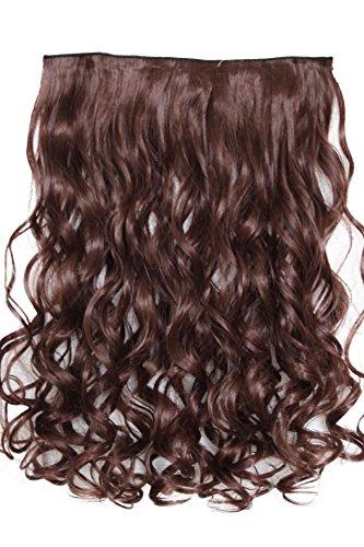 (PRETTYSHOP 70cm oder 55cm Clip In Extensions Halbperücke Haarverlängerung Haarverdichtung Haarteil hitzebeständig wie Echthaar div. Farben (70cm braun #33 C68-1))