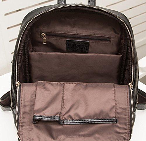 NiSeng Damen Daily Pu Leder Rucksack Schulrucksäcke Daypack Casual Tasche Reiserucksack Schwarz