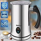 Espumador de leche, Espumador de leche eléctrico con funcionalidad caliente o fría, Espumador y Calentador Automático de leche, Acero Inoxidable Plateado, Generador de Espuma para café y Cappuccino